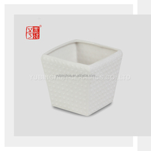 Modern Square Indoor Decor Small White Ceramic Flower Pot