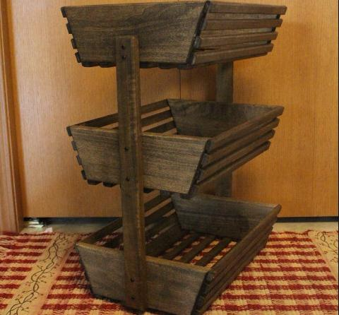 Wooden Storage Basket Vegetable Rack Fruit Holder Fruit Basket Crate