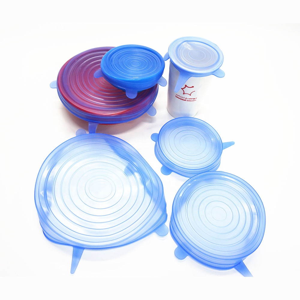 Eco-friendly 6 pack reusable food grade silicone stretch lids cover