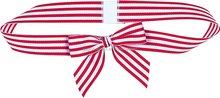 Red and White Stripe Ribbon Pre-tied Ribbon Bow With Ribbon Loop