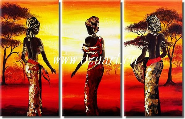 Abstracto contemporáneo african women oil painting