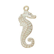 Charm Pendants Seahorse Gold Plated Clear Rhinestone White Enamel 31.0mm x 13.0mm