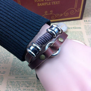 Latest fashion cotton cord woven leather bracelet with alloy loop China direct vendor