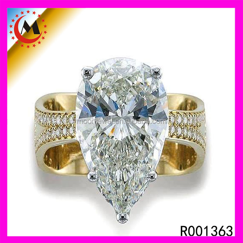 Big Solitaire Diamond Ring Pear Cut Diamond Created 2 Gram Gold Jewellery India Stone Ring
