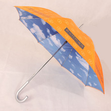 25 Inch 8 Panels Manual Open Double Layer Souvenir Heat Transfer Printing Outdoor Blue Sky Walking Stick Umbrella