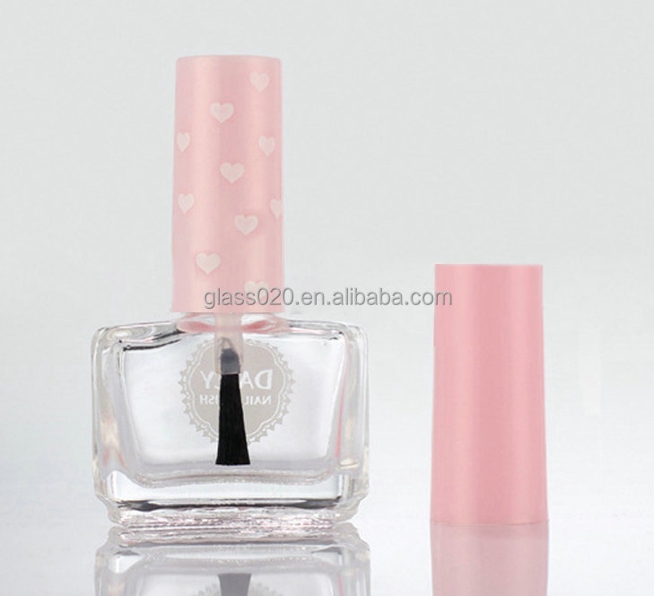 Penghuang glass bottle supply N003 quality squared clear gel nail polish bottle with baby pink long cap