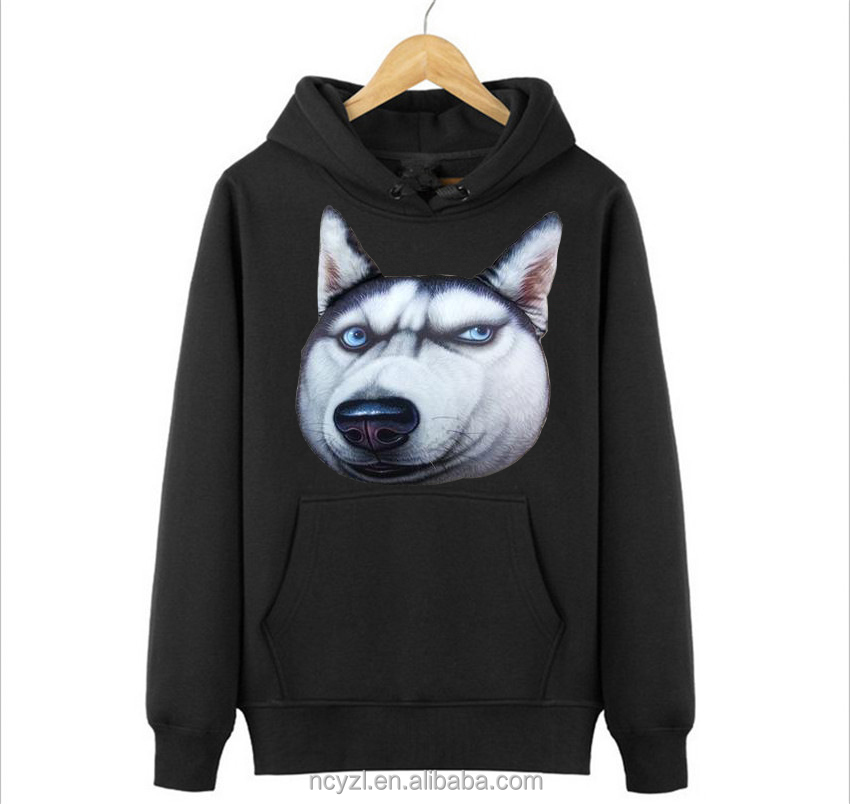 100% polyester Fashion 3d print animal dog allover printed sublimation hoodies