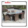 Shinygarden Rattan Wicker Bar Stool Dining Table Set Black/Brown
