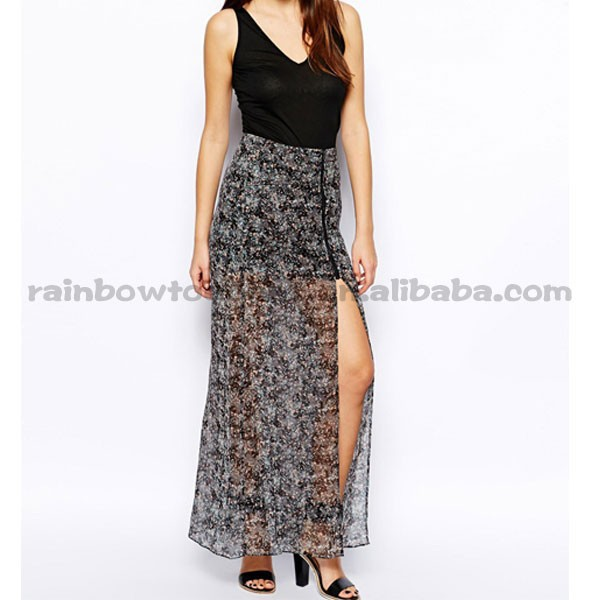 Asymmetric zip Thigh Split High Waist Chiffon Long Skirt