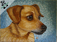 MB PMD02 little dog mosaic tile picture hanging handmade artistic mosaic animal pattern mural glass mosaic tile