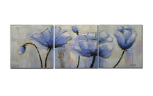 New Design Blue Flowers Knife Palette Paintings Canvas Artwork for Sale