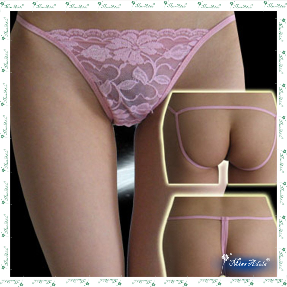 Hot sell beautiful sexy panties fancy pink lace thongs intimate ladies panties adjusted strings sexy g-string under garments