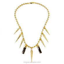 Exaggeration Pave Rivet Spike Pendant Natural Stone Beads Necklace
