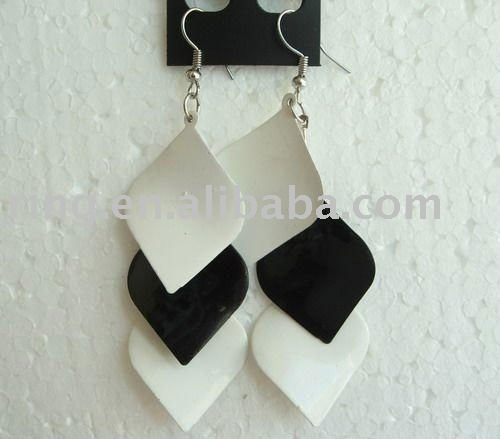 Lolita style black white painted wooden hook earrings