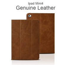 Custom Design Business Style Genuine Oil Wax Leather Tablet Smart Cover Case for iPad mini