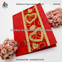 handmade paper card making valentine greeting card mulberry paper