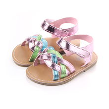 Beautiful colorful hard sole leather baby girl sandals