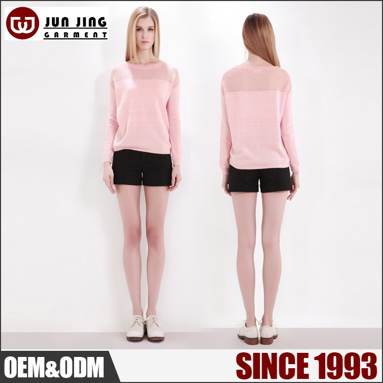 Factory supply cheap custom knit pink perspective splicing woman sweater