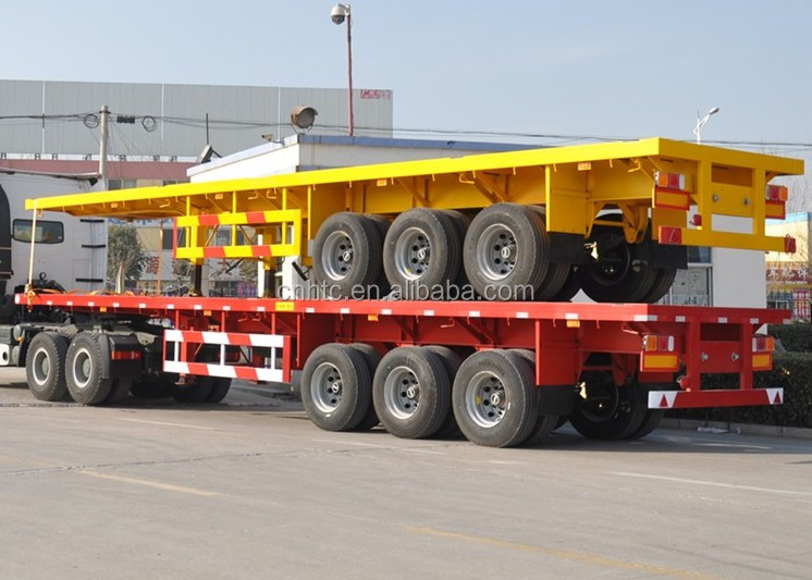 Cheap Price China 60 Ton 3 Axle Flat Low Bed Truck Trailer For Sale