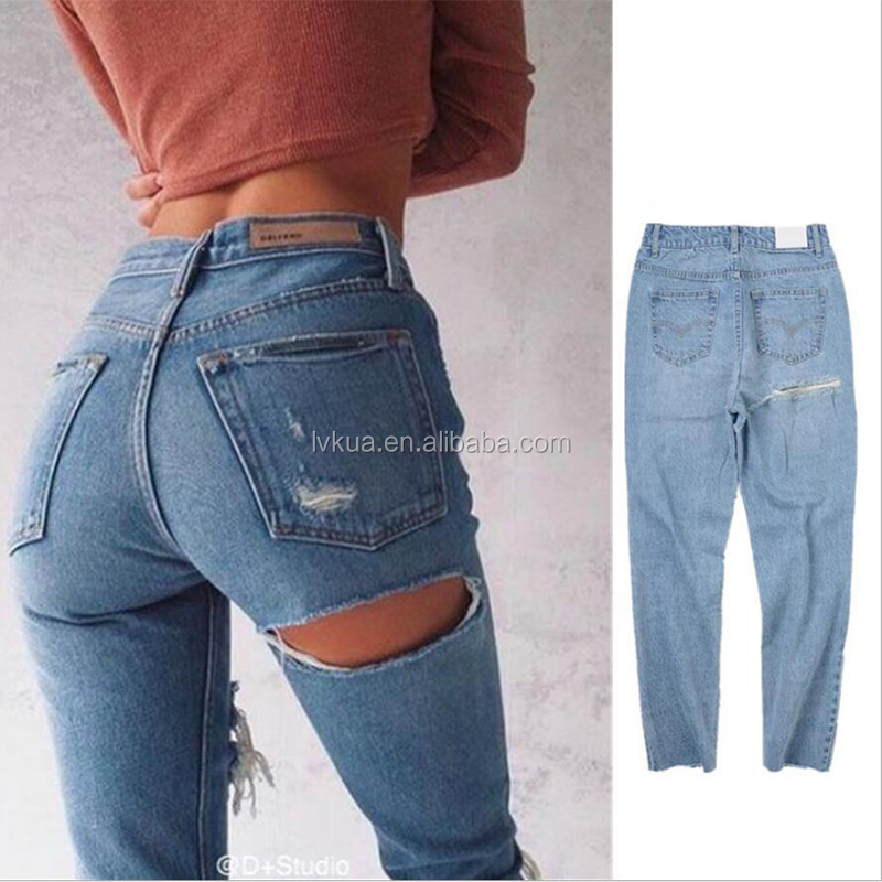Wholesale Latest Design Hole in Back Women Sexy Loose Denim Jeans
