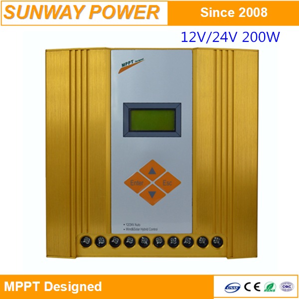 MPPT wind and solar hybrid street light charge controller 200W 12V/24V AUTO with long time warranty