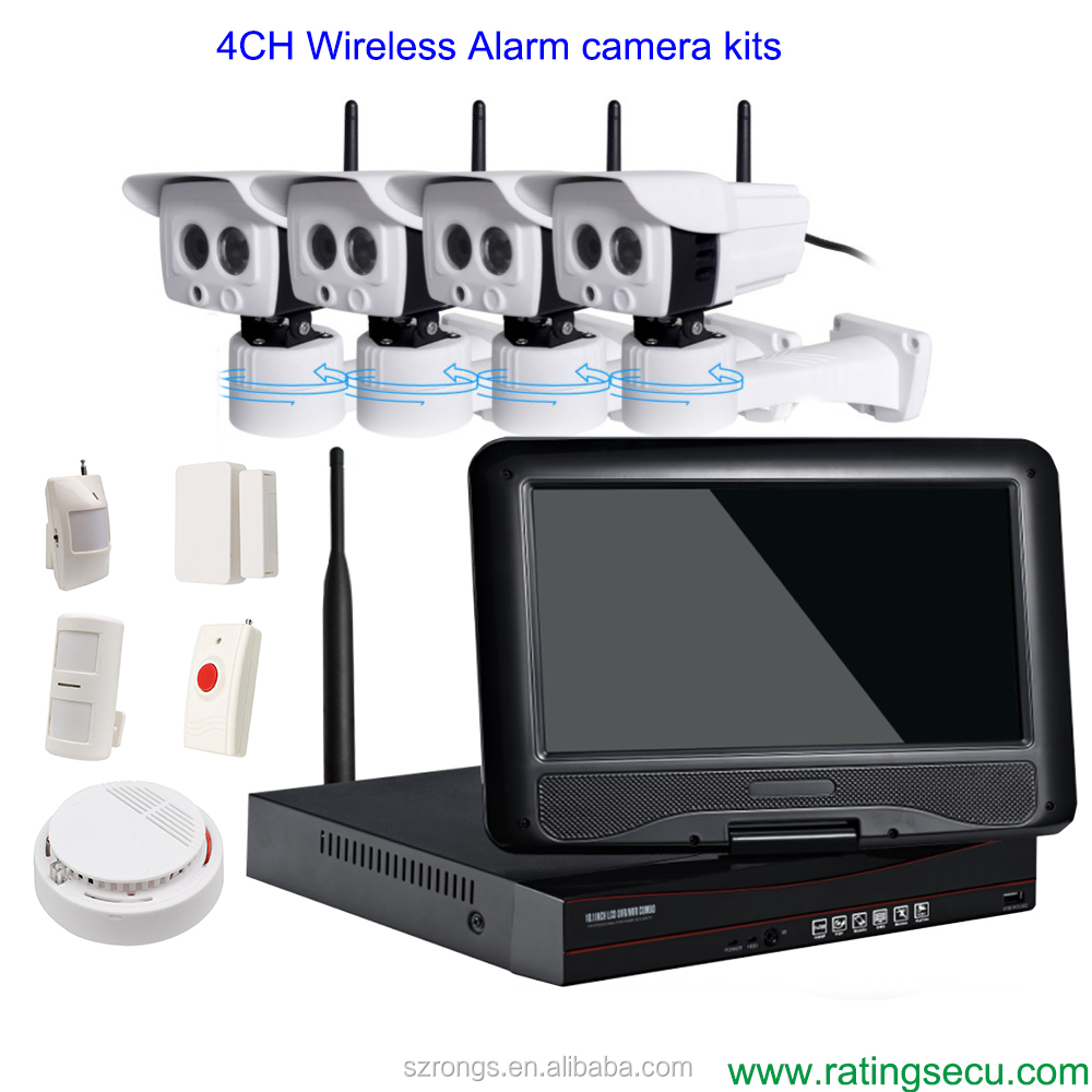 4CH HD 720P infrared alarm 1.0MP wireless IP camera with <strong>10</strong> ''LCD screen CCTV camera kit
