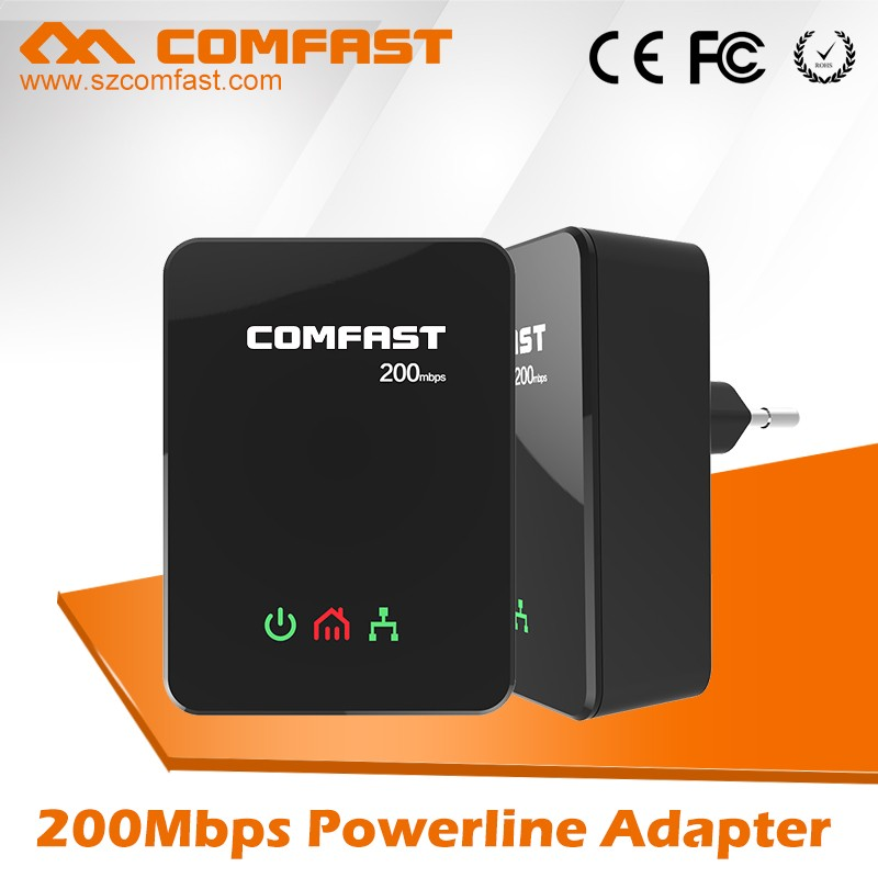 DHL Shipping For COMFAST Network adapter CF-WP200M Customized 200M Home Plug Powerline PLC Adapter 2.4Ghz black color