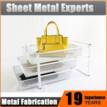 Quality 3-tier metal steel sliding wire/mesh basket pull out storage drawers
