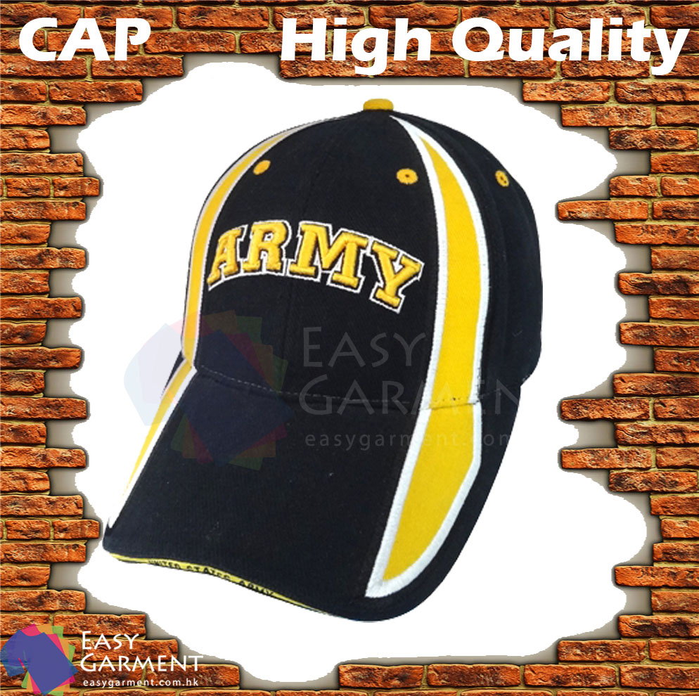 Custom Promotional Adult 3D Embroidery Black and Yellow Baseball hat
