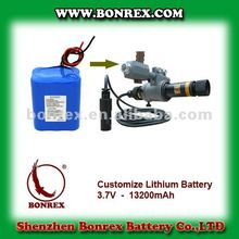 Custom Li-Ion 18650 Battery: 3.7V 13.2Ah (48.84wh, 2A rate, 1S6P) battery module for Laser Pointing Device