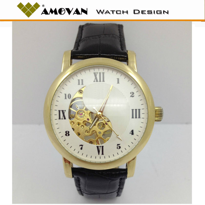 Luxury golden cheap mechanical men watch,10 ATM waterproof
