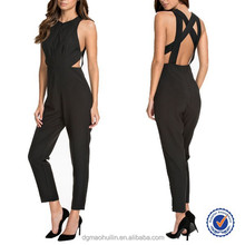 Fashion Designs Wide Straps Cross At The Back One Piece Jumpsuit Design For Women
