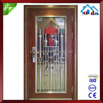 Outdoor Villa Entrance Wrought Iron Door Glass
