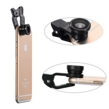 Glass lens Universal 3 in 1 Detachable Clip-on Fish-Eye Lens for mobile phone camera