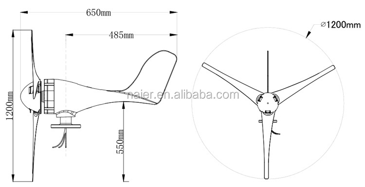 high efficiency 100w horizontal axis wind generator for