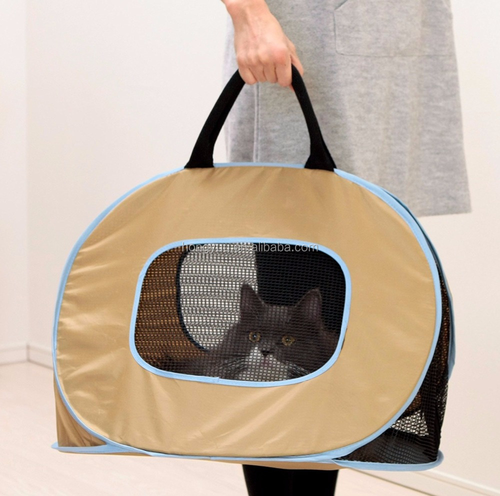Pop up Portable Ultra Light Cat Dog Pet Carrier Bag Outdoor Slings Bag with Zipper Lock