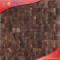 YK18 Natural Material 3d Brown Coconut Shell Mosaic Tiles For Wall Decoration
