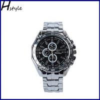 Fashion Stainless Steel Band Chronograph Men Sport Business Quartz Watches Black WP017