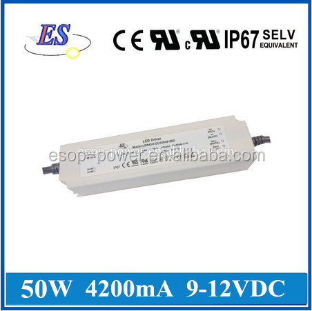 ES 50W 4.2A 12V AC-DC Constant Voltage/ Constant Current UL LED Driver Power Supply with 1-10V Dimming