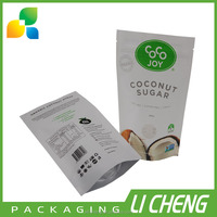 Custom printed coconut sugar stand up pouch packing bags