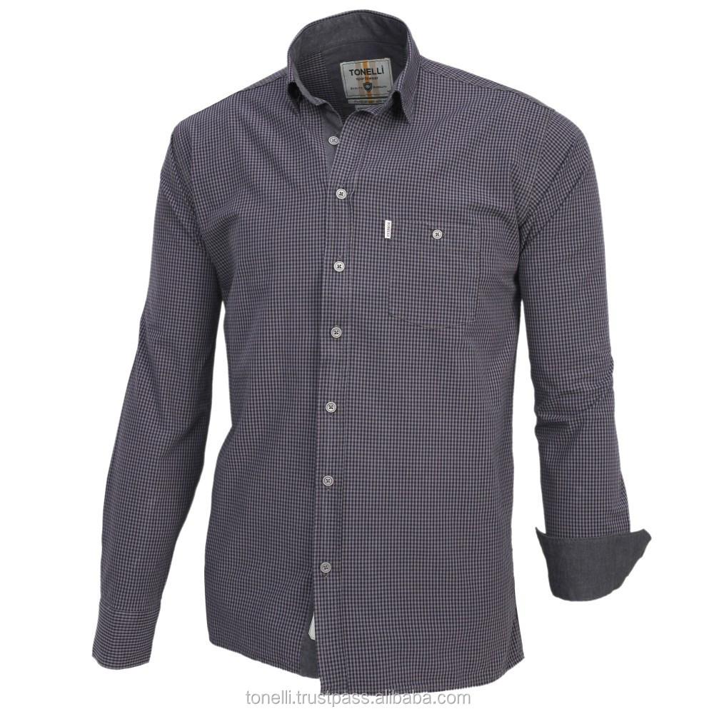 Stylish 100% cotton long sleeve one pocket light black regular fit plaid men's shirts