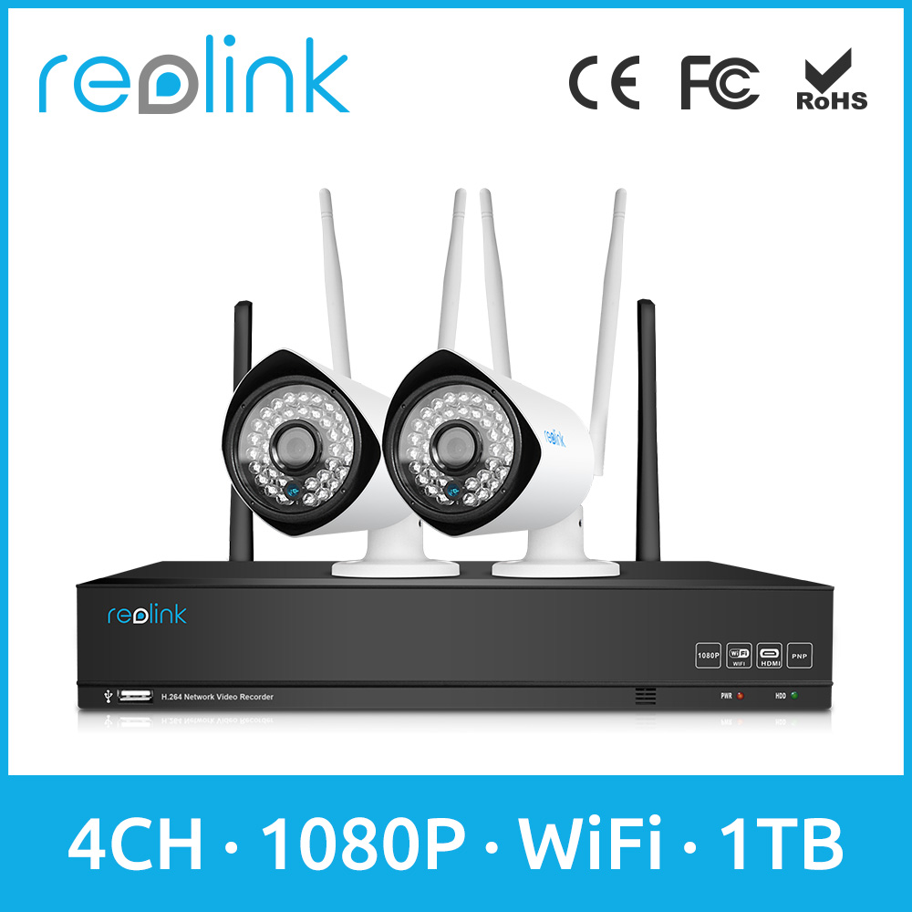 Reolink 4ch WiFi NVR Kits CCTV Kits Full HD 1080P Outdoor Wireless Bullet Cameras RLK4-210WB2