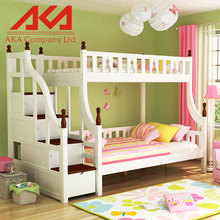 White Europe high quality modern childern bedroom furniture wooden bunk bed