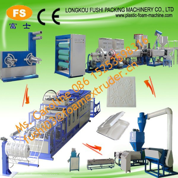 Salable CE approval PS disposable foam food container and platemaking machine , double-screw polystyrene extruder
