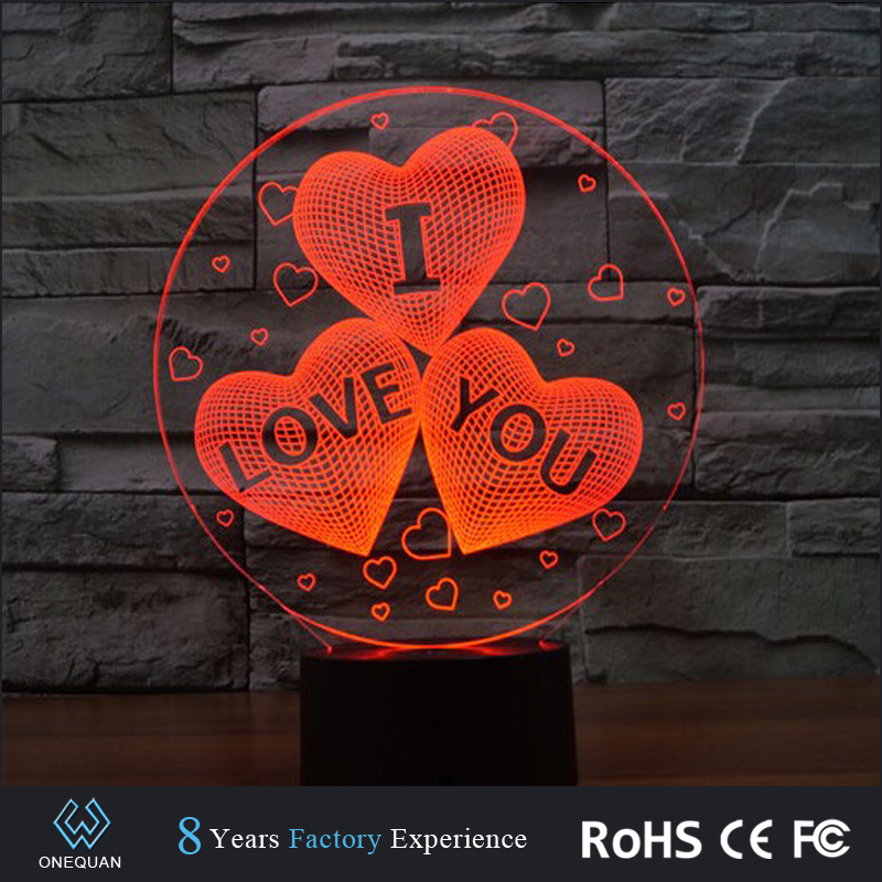 2017 new product ideas 7colors creative 3d led night light with touch button