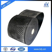 High security rubber ribbed chevron conveyor belt for salt and grain transport