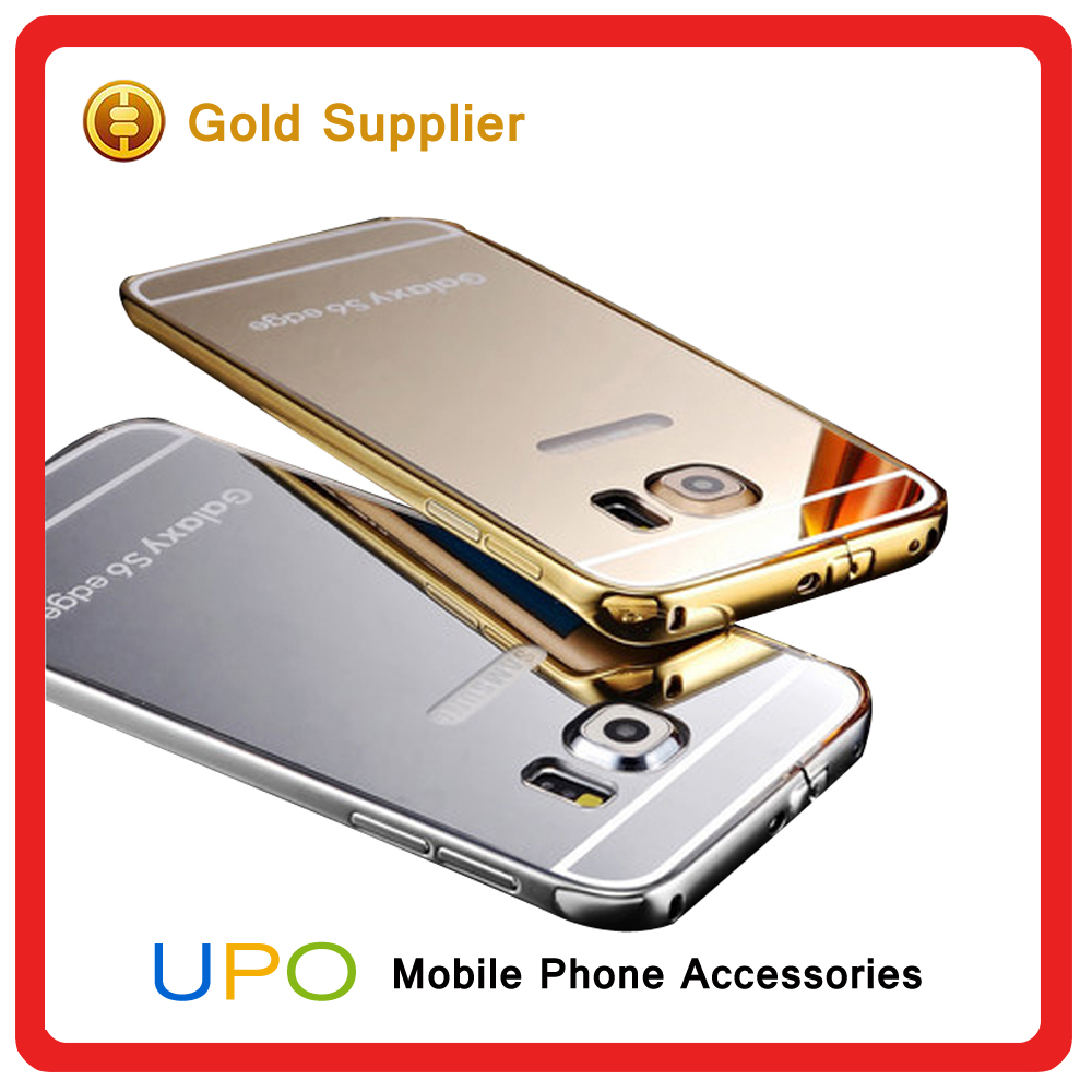 [UPO] Luxury Golden Back metal aluminium Bumper Mirror Mobile Phone Case For Samsung Galaxy s6