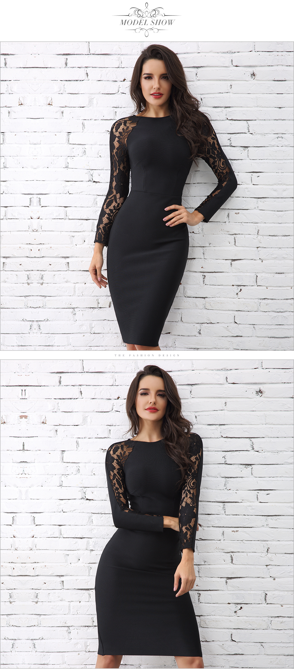Adyce 19 Winter Elegant Lace Bandage Dress Women Black Floral Long Sleeve Hollow Out Clubwear Sexy Midi Celebrity Party Dress 5