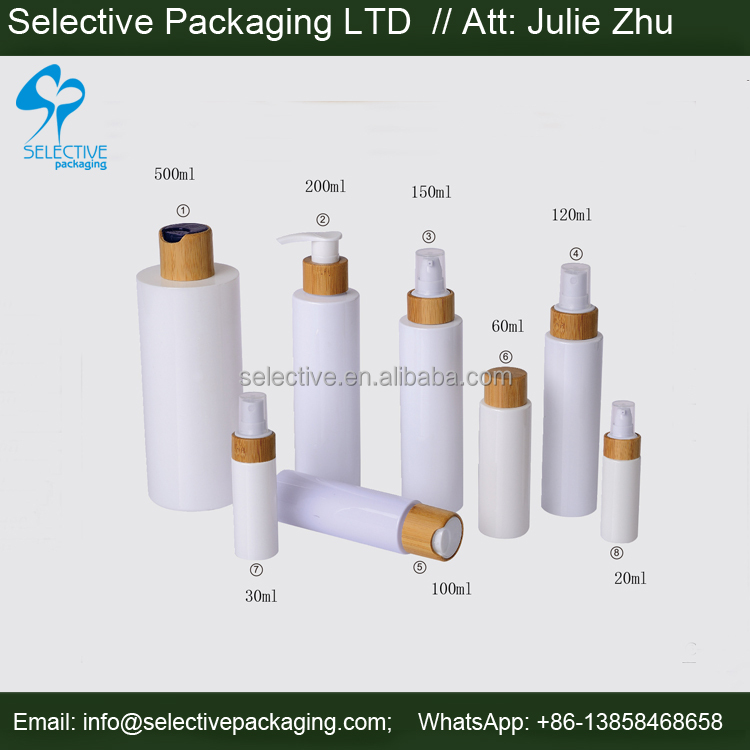 empty cosmetic white PETG PET bottle with bamboo disc top cap bamboo pump 200ml 500ml shampoo empty plastic bottles