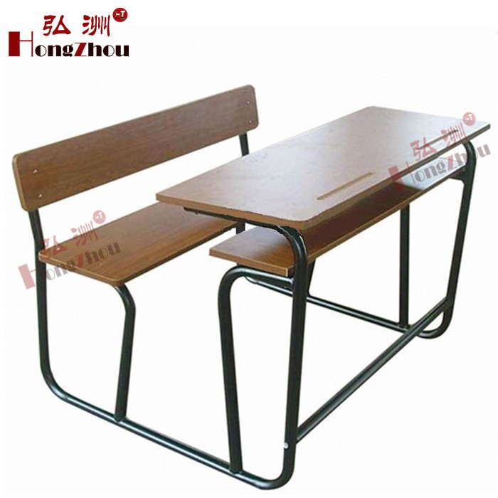 Double School Desk And Bench Student Desk Attached Chairs College Table And C
